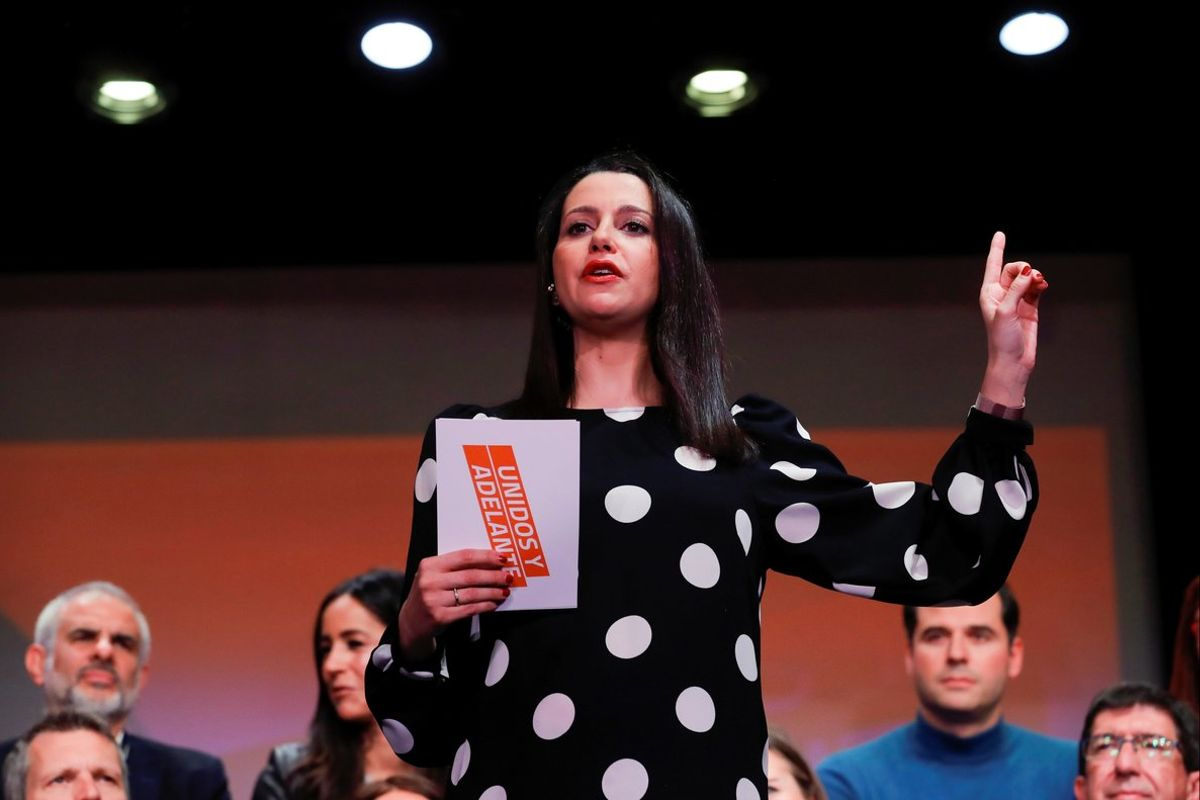 La líderde Cs, Inés Arrimadas, durante la presentación de su campaña.