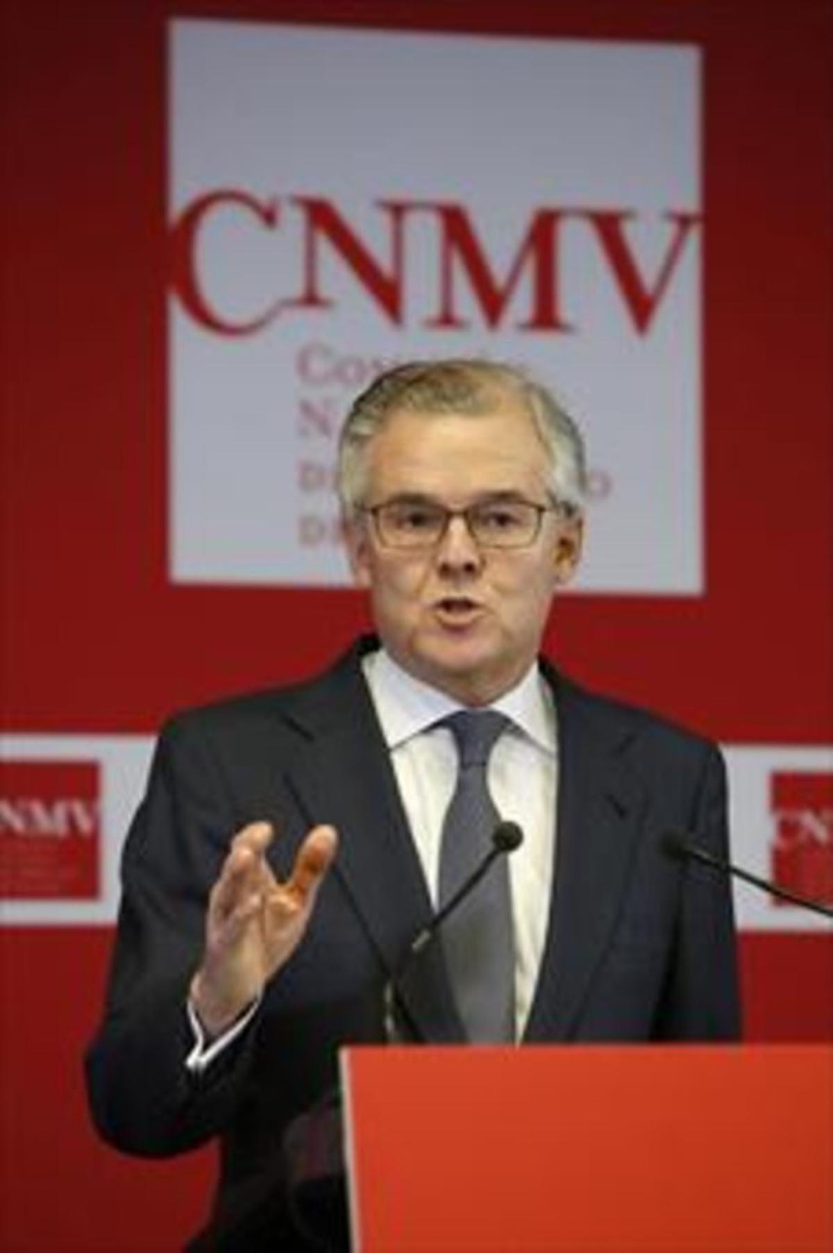 El presidente de la CNMV, Sebastián Albella, en una rueda de prensa.