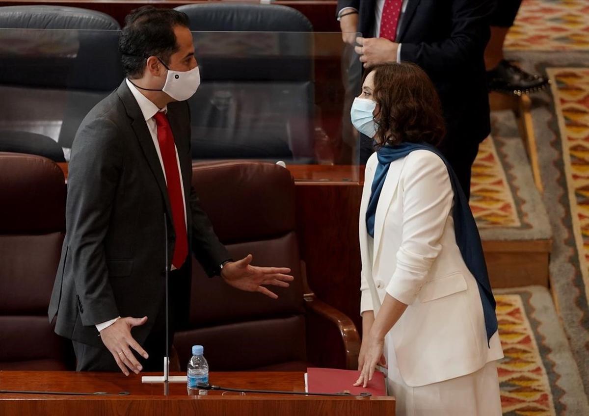 La presidenta de Madrid, Isabel Díaz Ayuso, junto a su vicepresidente y líder de Cs en la región, Ignacio Aguado