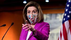 La presidenta de la Cámara de Representantes, Nancy Pelosi, durante una rueda de prensa este jueves.