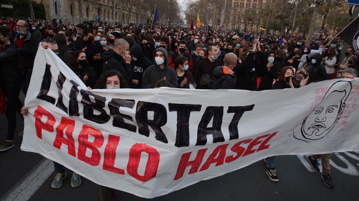 La manifestación de este sábado en Barcelona, en la plaza Universitat