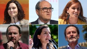Isabel Díaz Ayuso, Ángel Gabilondo, Mónica García, Pablo Iglesias, Rocío Monasterio y Edmundo Bal.