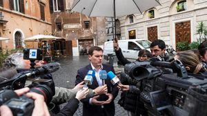 Albert Rivera durante un encuentro con los corresponsales espanoles en Roma tras su reunióncon Mateo Renzi.