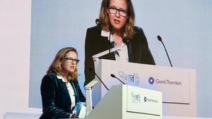 La vicepresidenta económica del Gobierno, Nadia Calviño, durante su participación en el Spain Investors Day.