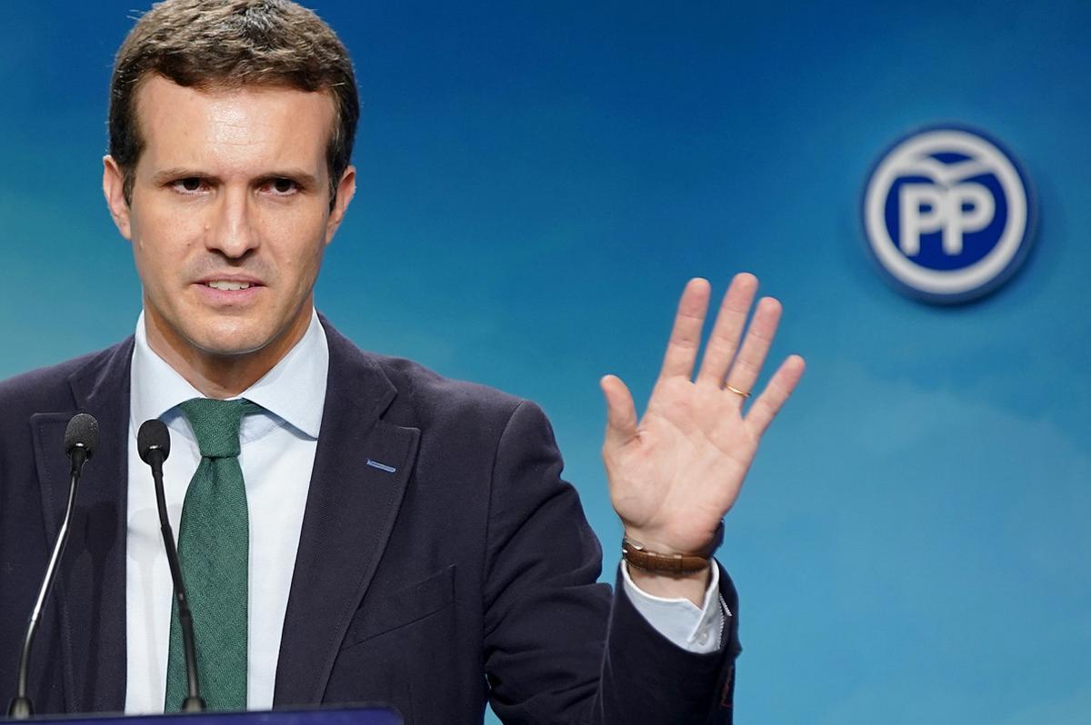 Rueda de prensa de Pablo Casado en la sede del PP.