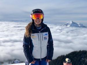 Núria Pau, esta semana, en lo alto de la estación eslovena de Krvacec.