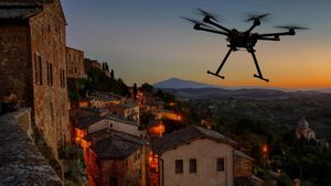 Bucólica escena de un dron volando al atardecer.