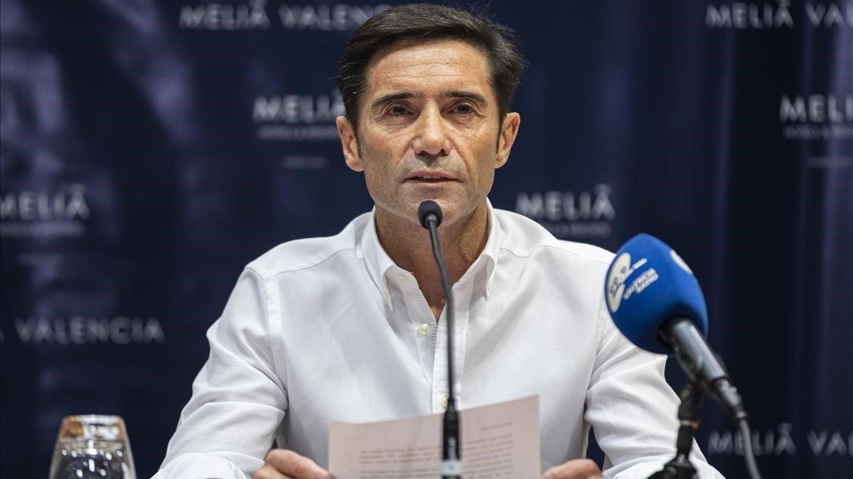 Marcelino, en la rueda de prensa de despedida.
