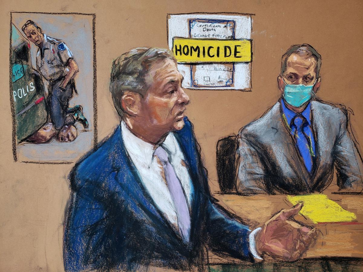 Dibujo del fiscal Steven Schleicher, en su alegato final y del acusado, el exoficial de policía de Mineápolis, Derek Chauvin.