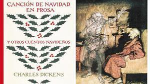 Portada del libro de relatos navideños de Charles Dickens y un dibujo de Arthur Rackham, uno de los grandes ilustradores británicos.