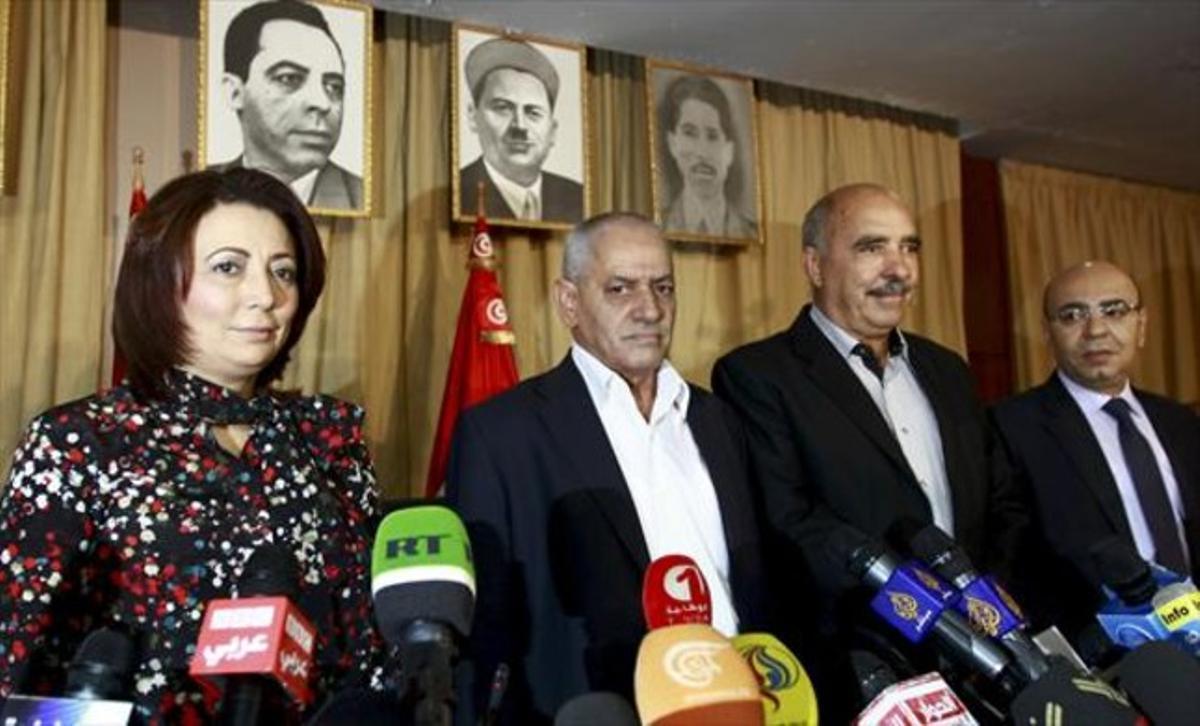 Los miembros del cuarteto, en una rueda de prensa en Túnez en el  2013