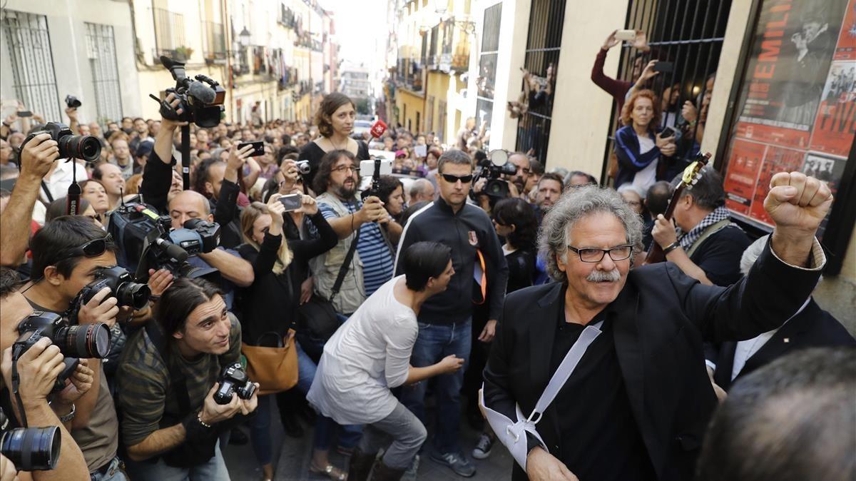El portavoz de ERC en el Congreso Joan Tardà, en el acto a favor del referéndum de Madrid.