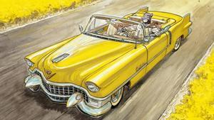 Blacksad, en su flamante Cadillac, en la imagen de portada del álbum 'Amarillo', ganador del Nacional de Cómic, ejemplo de la exposición del Salón del Cómic 'Viñetas sobre ruedas'.