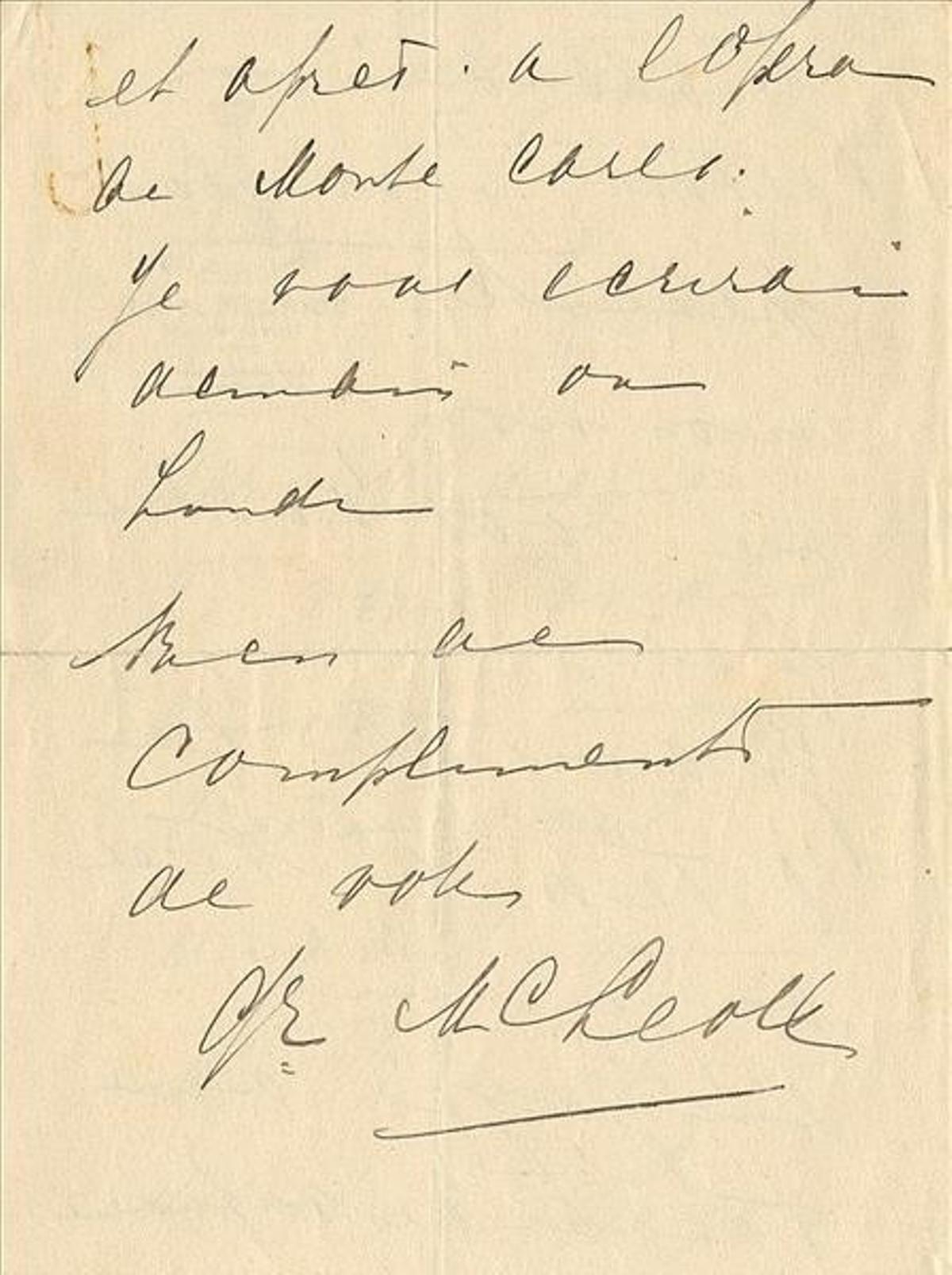 La última página, con la firma de espía, actriz y cortesana, con su nombre de casada.