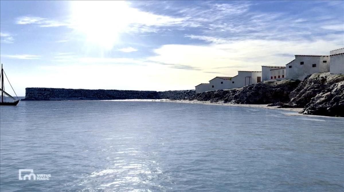 Recreación en tres dimensiones de parte del antiguo barrio portuario de Empúries y del espigón del puerto artificial.
