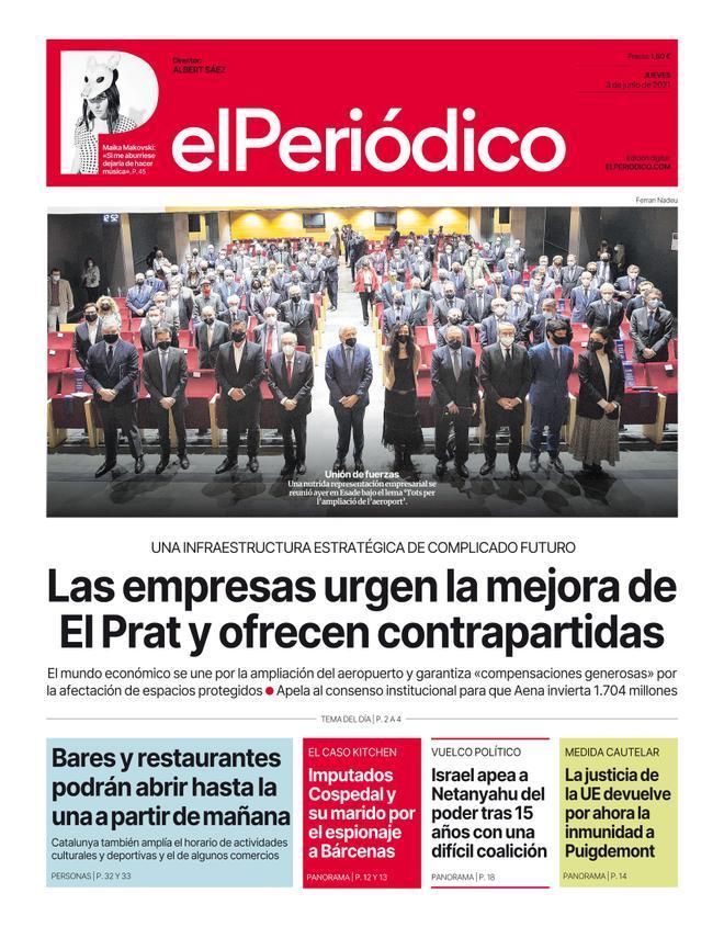 La portada d'EL PERIÓDICO del 3 de juny del 2021