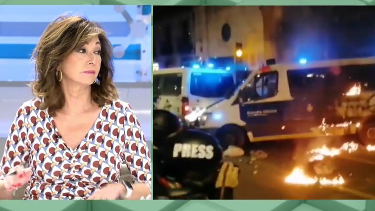 """Ana Rosa critica a los políticos por los disturbios y defiende a los policías: """"Están acojonados"""""""