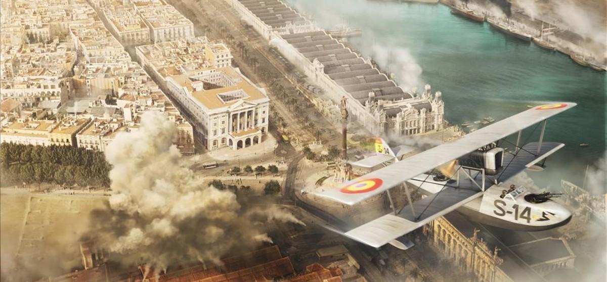 Un hidroavión republicano bombardeando las Drassanes en defensa del Gobierno, al inicio de la guerra.