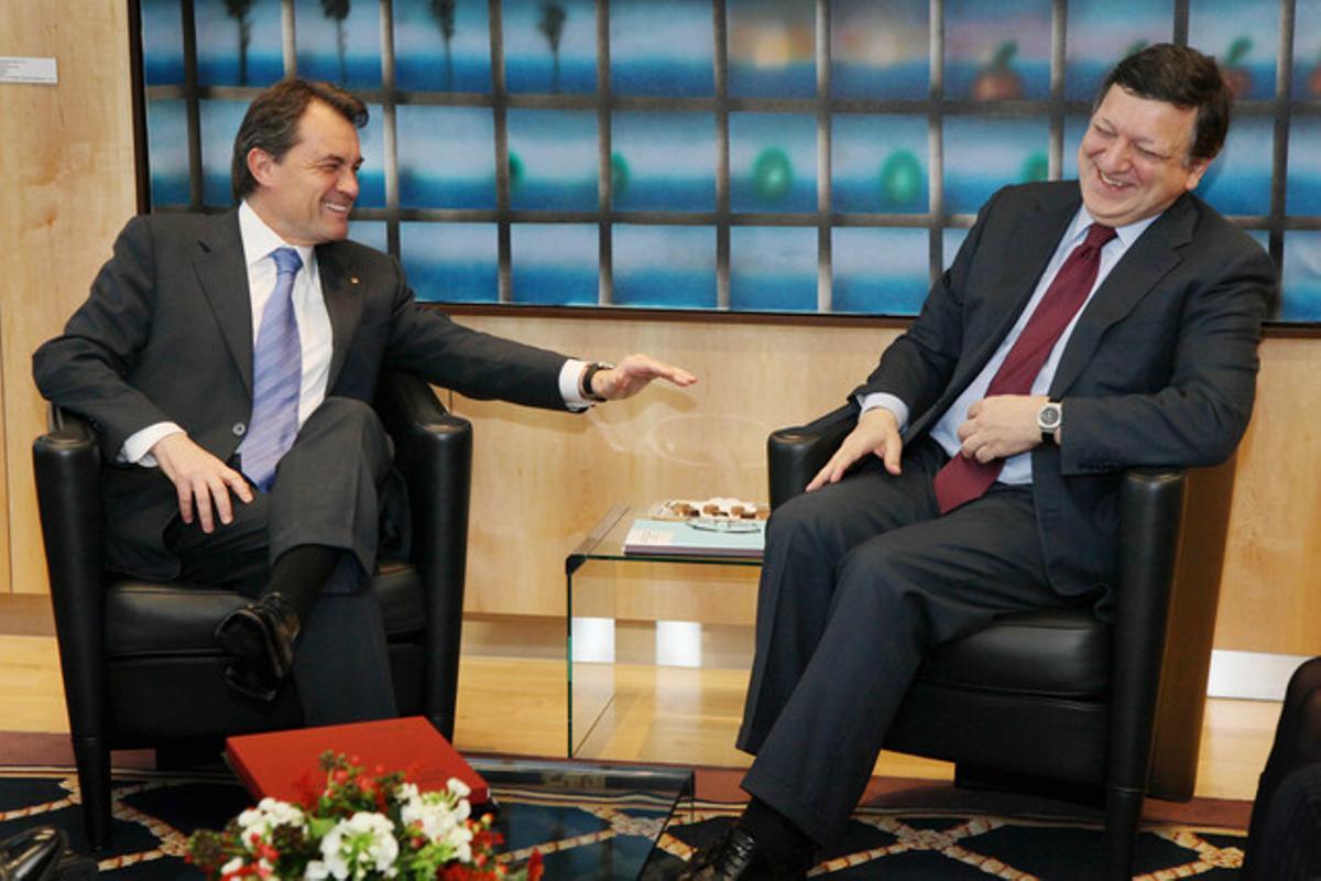 El 'president' Mas junto al presidente de la CE, Barroso, en el 2011.