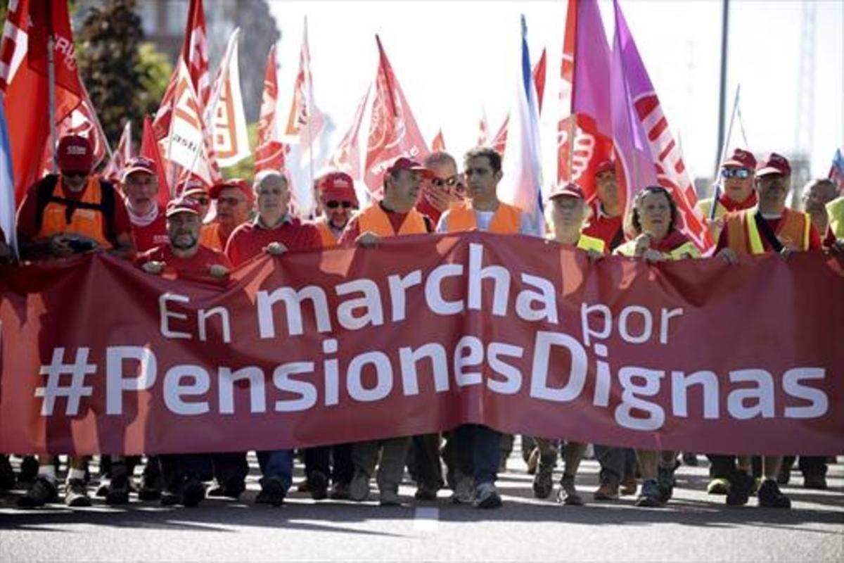 Marcha de pensionistas el pasadomes de septiembre en Madrid.