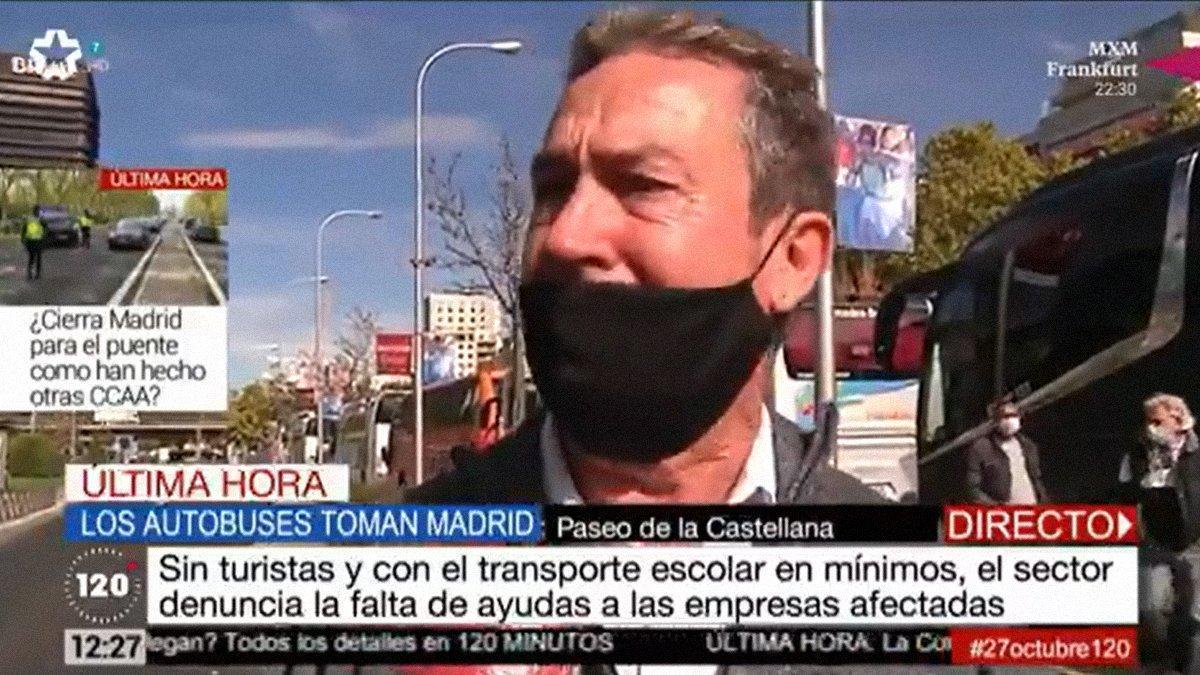 """Un conductor de autobús rompe a llorar en Telemadrid y Telecinco: """"Estoy en la ruina"""""""