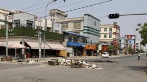 Calles vacías en Birmania durante la 'huelga de silencio' contra la junta.