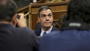 Pedro Sánchez, el segundo día del debate de la investidura fallida, el pasado julio.