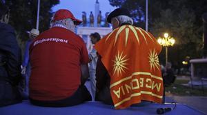 Participantes en una protesta para reclamar el boicot al referéndum para el cambio de denominación de Macedonia.