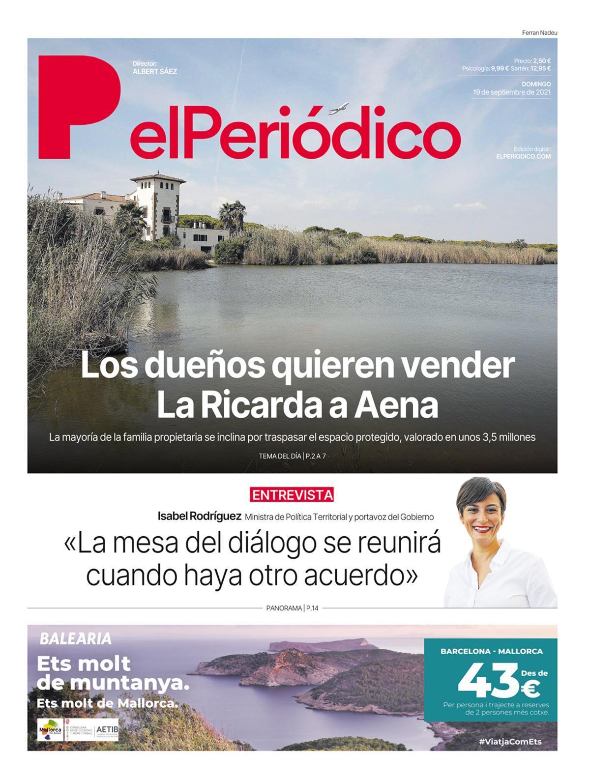 La portada de EL PERIÓDICO del 19 de septiembre de 2021