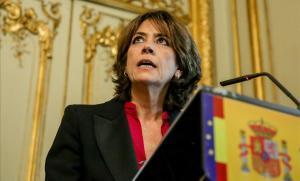 Dolores Delgado, durante su discurso de despedida del cargo de ministra de Justicia, el pasado lunes 13 de enero.