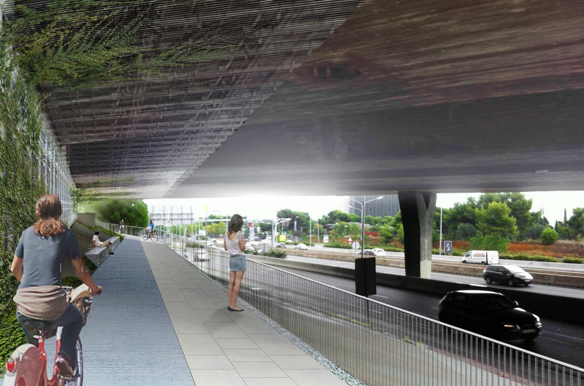 Simulación del carril bici que unirá Barcelona con Esplugues. Vista desde el paso debajo de la Ronda.