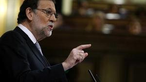 Rajoy, en un momento del debate de investidura.