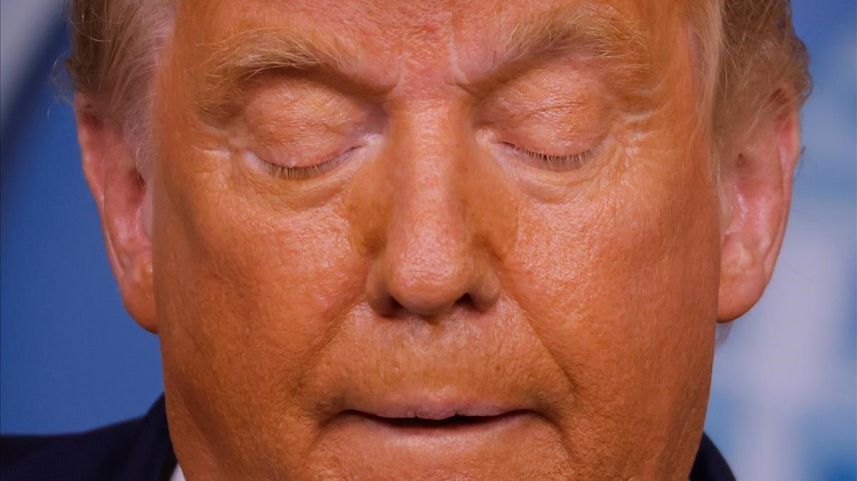 Donald Trump, durante su intervención de la madrugada de este viernes en la Casa Blanca.