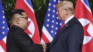 El presidente de EEUU,Donald Trump,y el de Corea del Norte,Kim Jong-un.