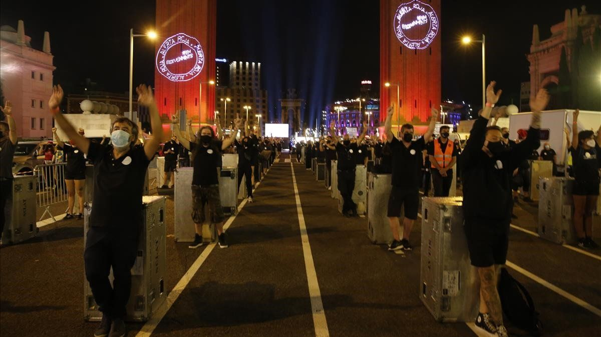Movilización de Alerta Roja, movimiento de los trabajadores de mundo del espectáculo y los eventos en Barcelona, el pasadojueves 17 de septiembre.