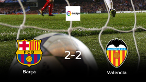 El Barcelona y el Valencia reparten los puntos tras empatar a dos
