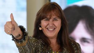 Laura Borràs, candidata de Junts per Catalunya, esta mañana en Vic.
