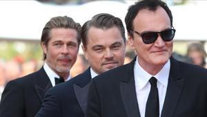 Quentin Tarantino, Leonardo DiCaprio y Brad Pitt, tras el estreno de 'Érase una vez en Hollywood' en Cannes