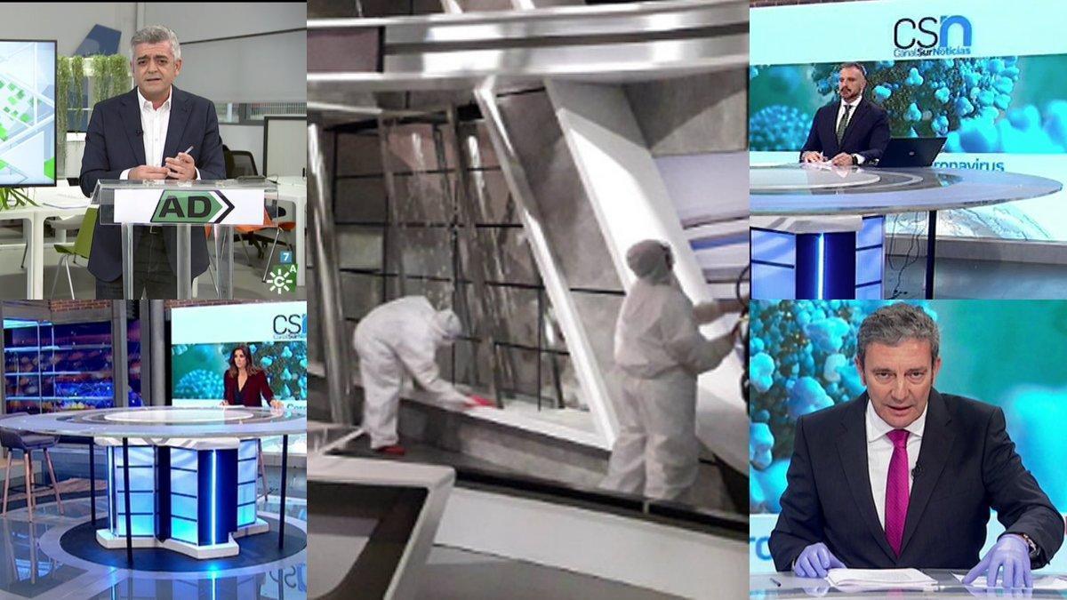 Imágenesde la desinfección de la sede central de Canal Sur y de las emisiones de 'Andalucía Directo' ylos informativos desde otros platós.