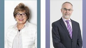 Mercè Boada, presidenta de la Fundación ACE, y Arcadi Navarro, presidente de la Fundació Pasqual Maragall.