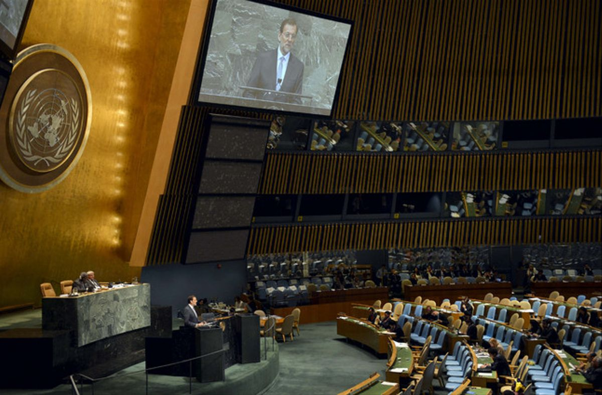 Mariano Rajoy, durante su discurso en la Asamblea General, ante un auditorio casi vacío, el martes en Nueva York.