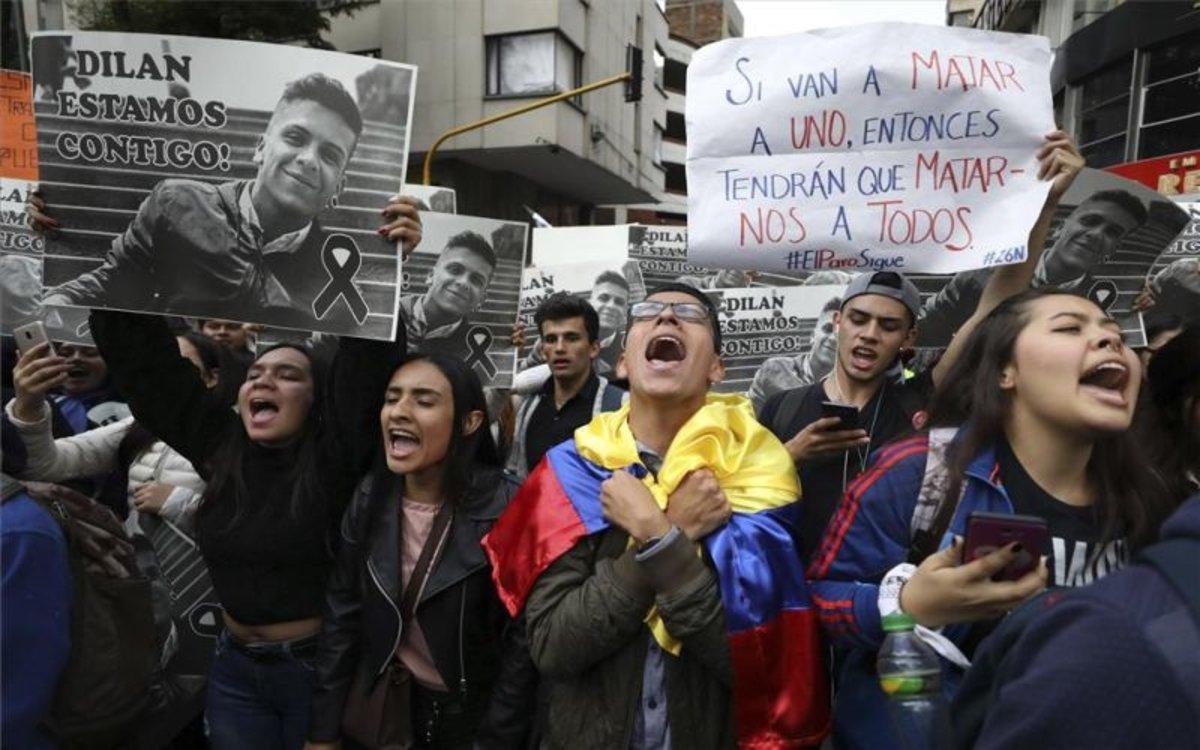 Protestas en Colombia en contra de los abusos policiales.