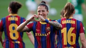 Jenni Hermoso celebra uno de sus goles.