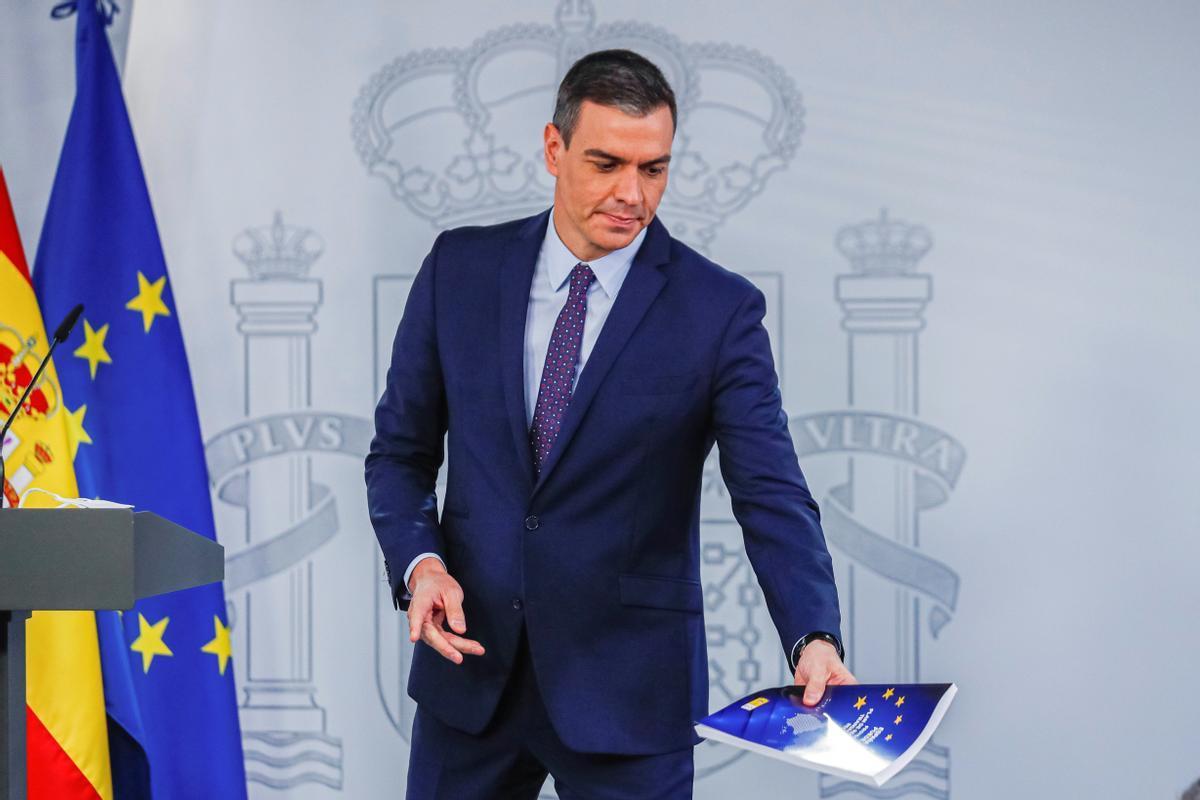 El presidente del Gobierno, Pedro Sánchez, presenta las líneas generales el Plan de Recuperación tras la reunión del Consejo de Ministros.