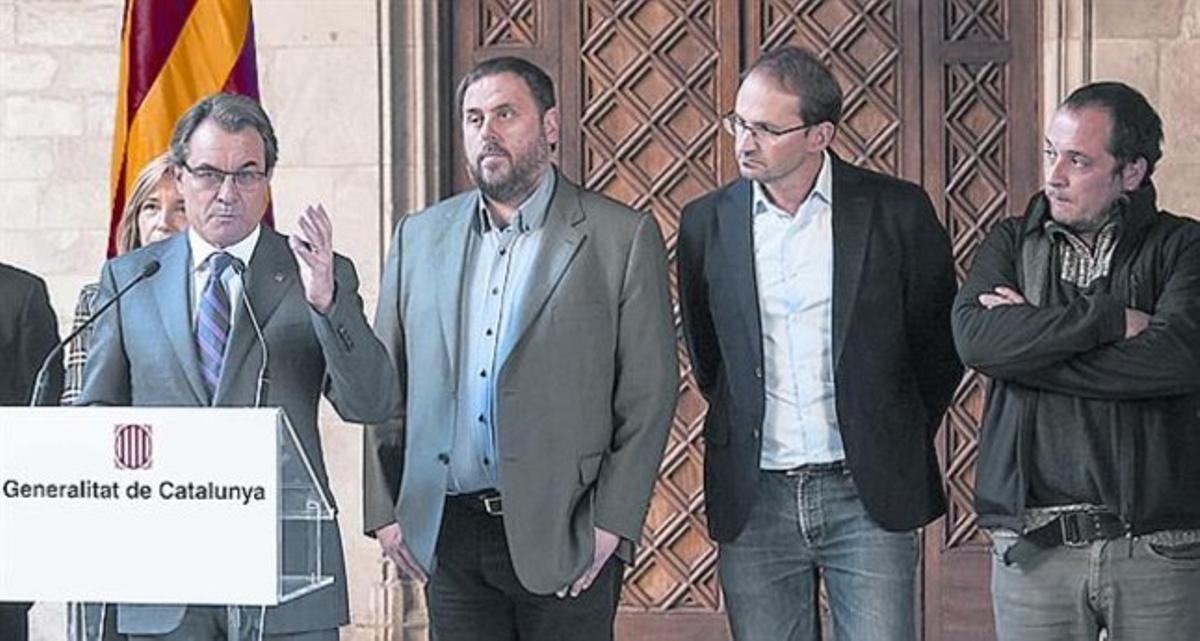 Mas, Junqueras, Herrera y Fernàndez, el jueves en el Palau.