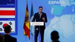 Pedro Sánchez, este martes, durante su intervención en la ceremonia para conmemorar el 75º aniversario de la ONU que se ha celebrado en el Palacio del Pardo.