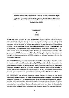 Demanda de Puigdemont contra España ante la ONU.