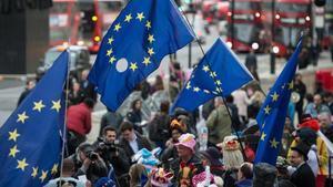 Manifestantes contrarios al 'brexit' cerca de Downing Street, en Londres, el 29 de marzo.