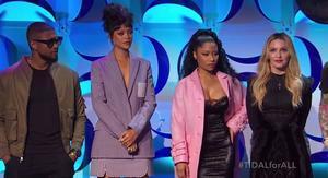 Artistas como Madonna, Rihanna o Nicki Minaj en el acto de presentación de la plataforma Tidal en 2014.