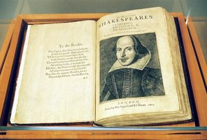 **TO GO WITH STORY TITLED FIRST FOLIO** Microsoft billionaire Paul Allen has loaned his First Folio edition of the collected plays of William Skakespere, shown July 18, 2003, in its display case in Ashland, Ore., to the Oregon Shakespeare Festival. Widely considered the most important single book in English literature, the volume is a sacred relic for many Shakespeare scholars and fans. The case stays locked in a room with a video surveillance camera and electronic alarm sytem. (AP Photo/Jeff Barnard)
